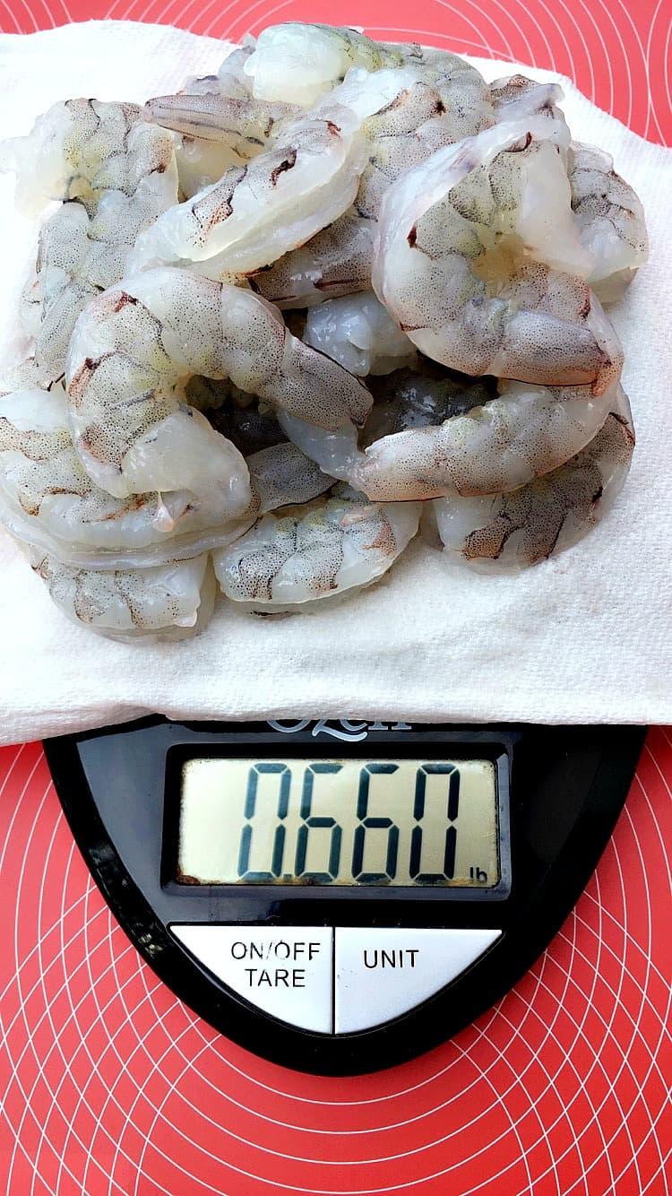 raw shrimp on a food scale