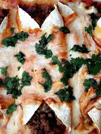 pan of baked beef enchiladas