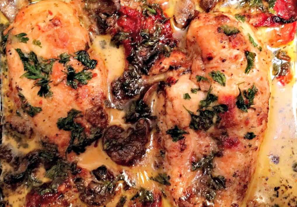 Chicken Sun-dried Tomatoes Mushrooms in Cream Sauce