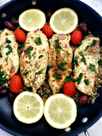 Greek Chicken and Rice in a skillet