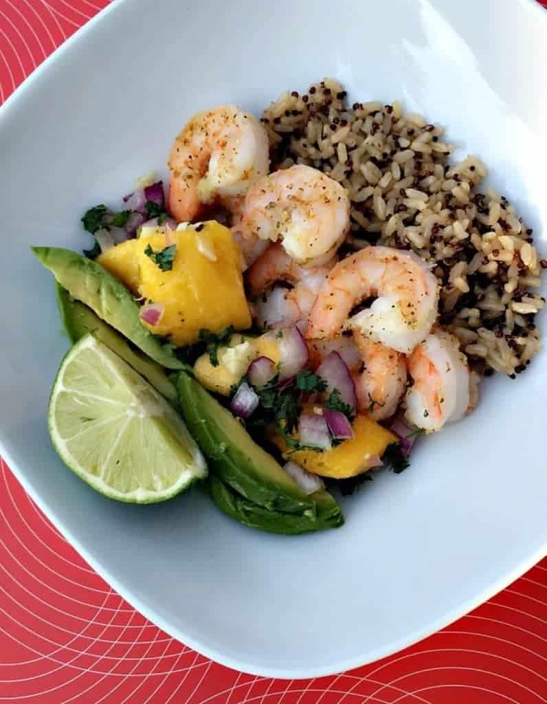 Shrimp rice Bowl with Mango Salsa