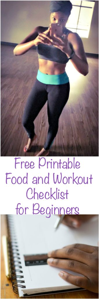 free printable food workout checklist for beginners