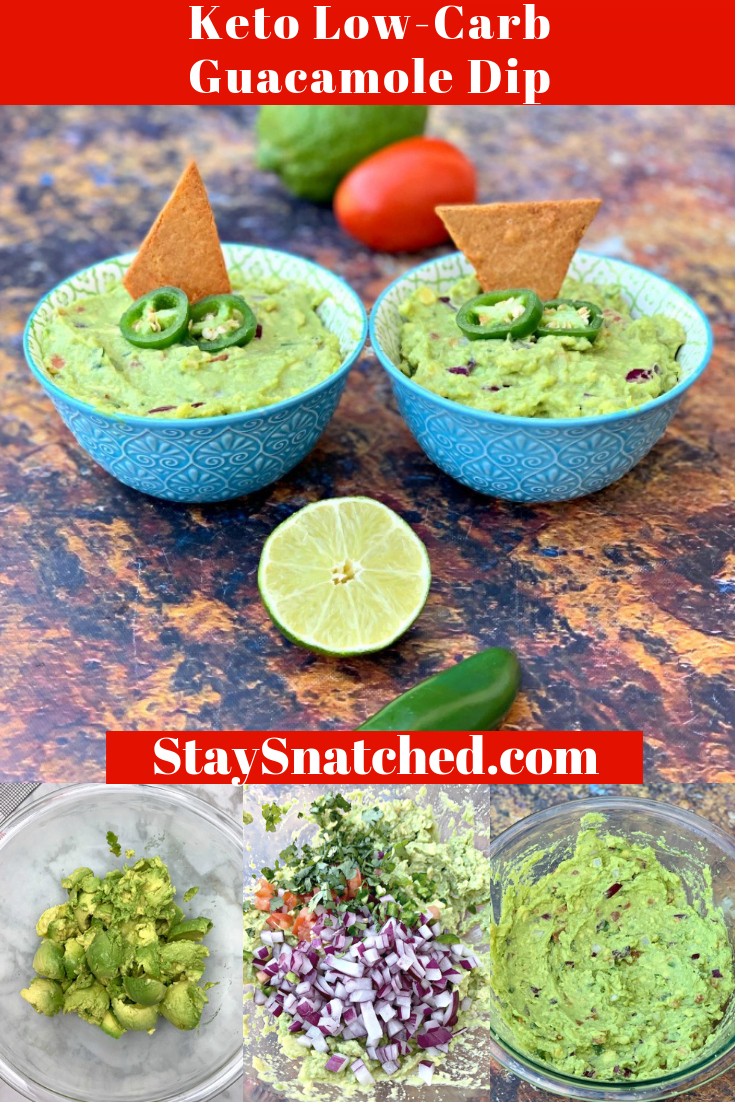 Easy Keto Low-Carb Guacamole Avocado Dip is a quick recipe for the best guacamole, keto chips, and other dippers you can find. Serve this dish as an appetizer at events and parties or nibble on it as a snack. This dip is low carb and has the perfect macros for the keto diet and lifestyle. Ditch the store-bought and make your own! #KetoRecipes #KetoGuacamole