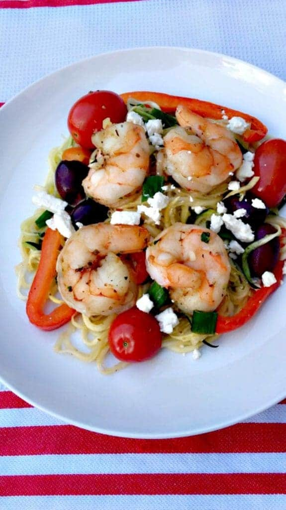 Mediterranean Shrimp with Zucchini Noodles