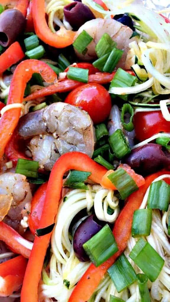 Mediterranean Shrimp with Zucchini Noodles