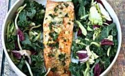 parmesan crusted salmon with herbs with salad
