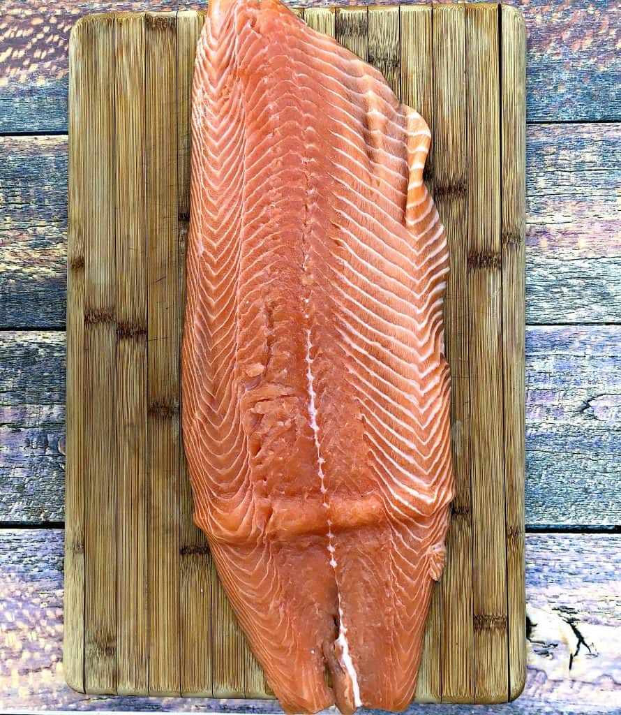 raw plank of salmon