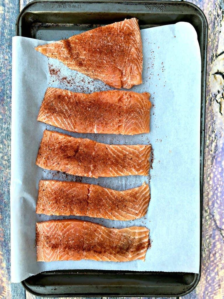 seasoned raw sliced salmon