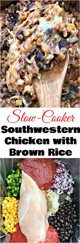 Slow-Cooker Southwestern Chicken and Brown Rice is a quick and easy Crockpot recipe with chicken, rice, and creamy cheese. Perfect healthy recipe for easy weeknight dinners, meal prep. and meal planning.