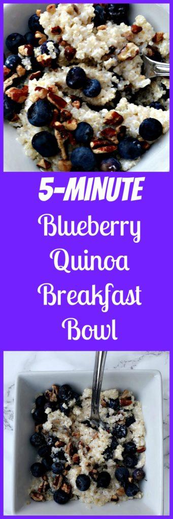 5 minute blueberry quinoa breakfast bowl