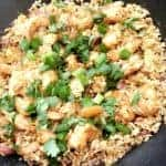 spicy shrimp fried rice in a skillet