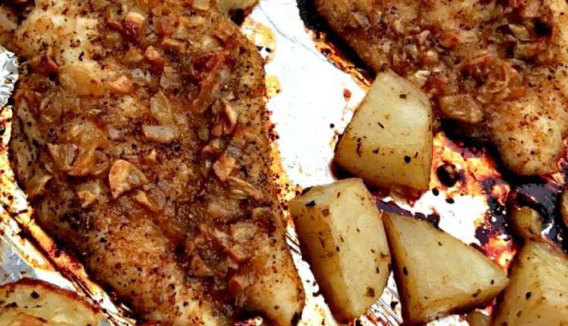 Sheet Pan Garlic Brown Sugar Chicken with Roasted Potatoes
