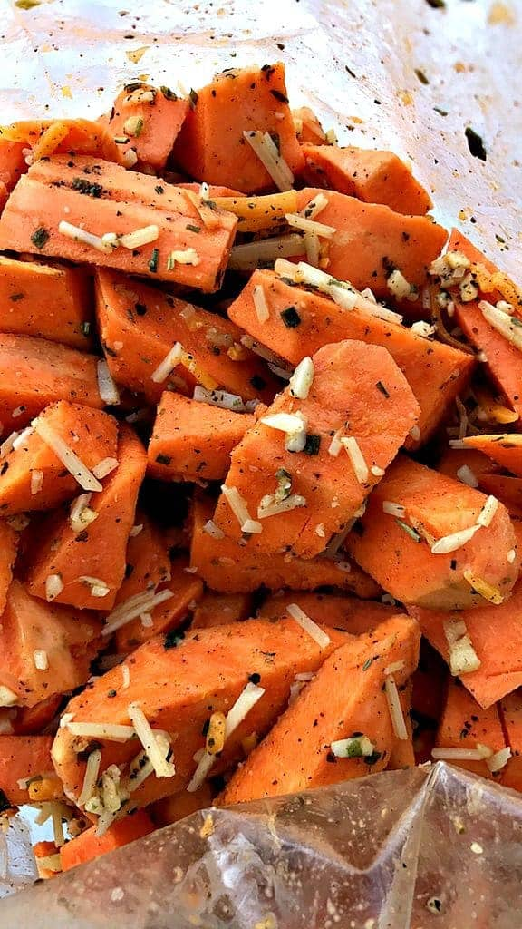 close up of sliced sweet potatoes