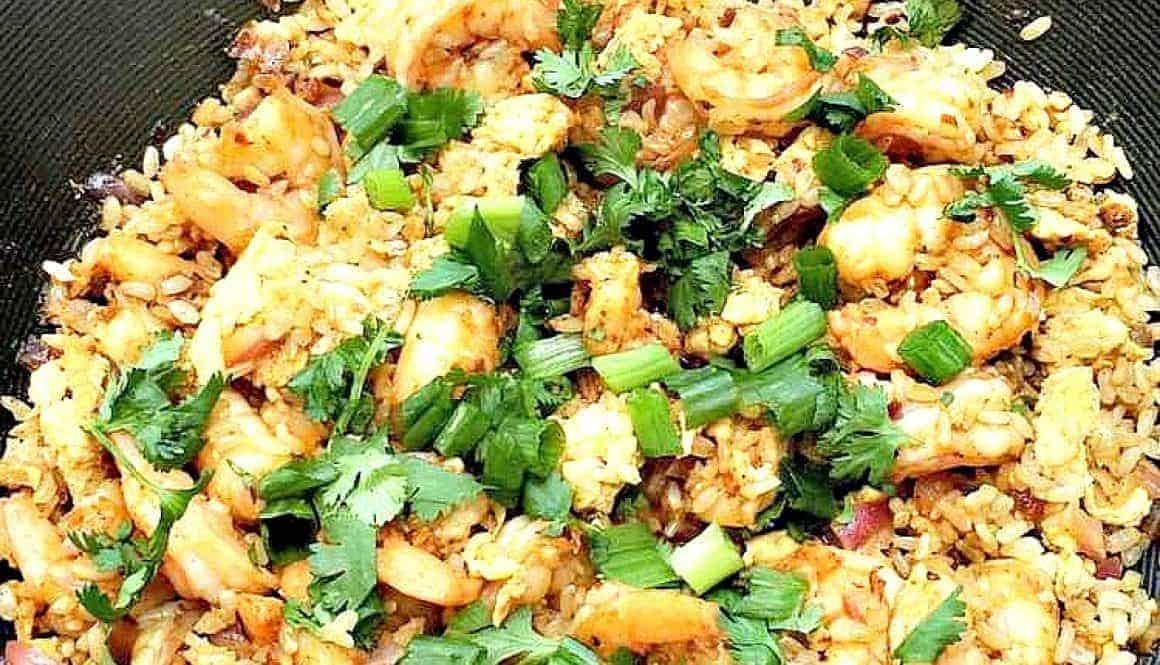 Skinny Spicy Shrimp Fried Rice