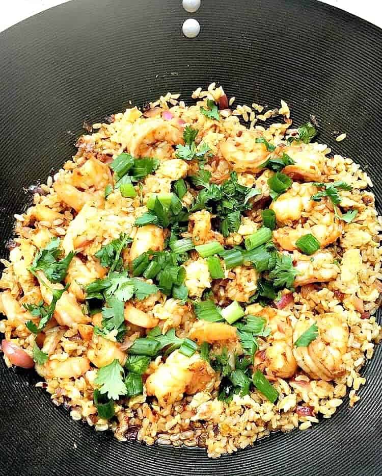 spicy shrimp fried rice in a wok