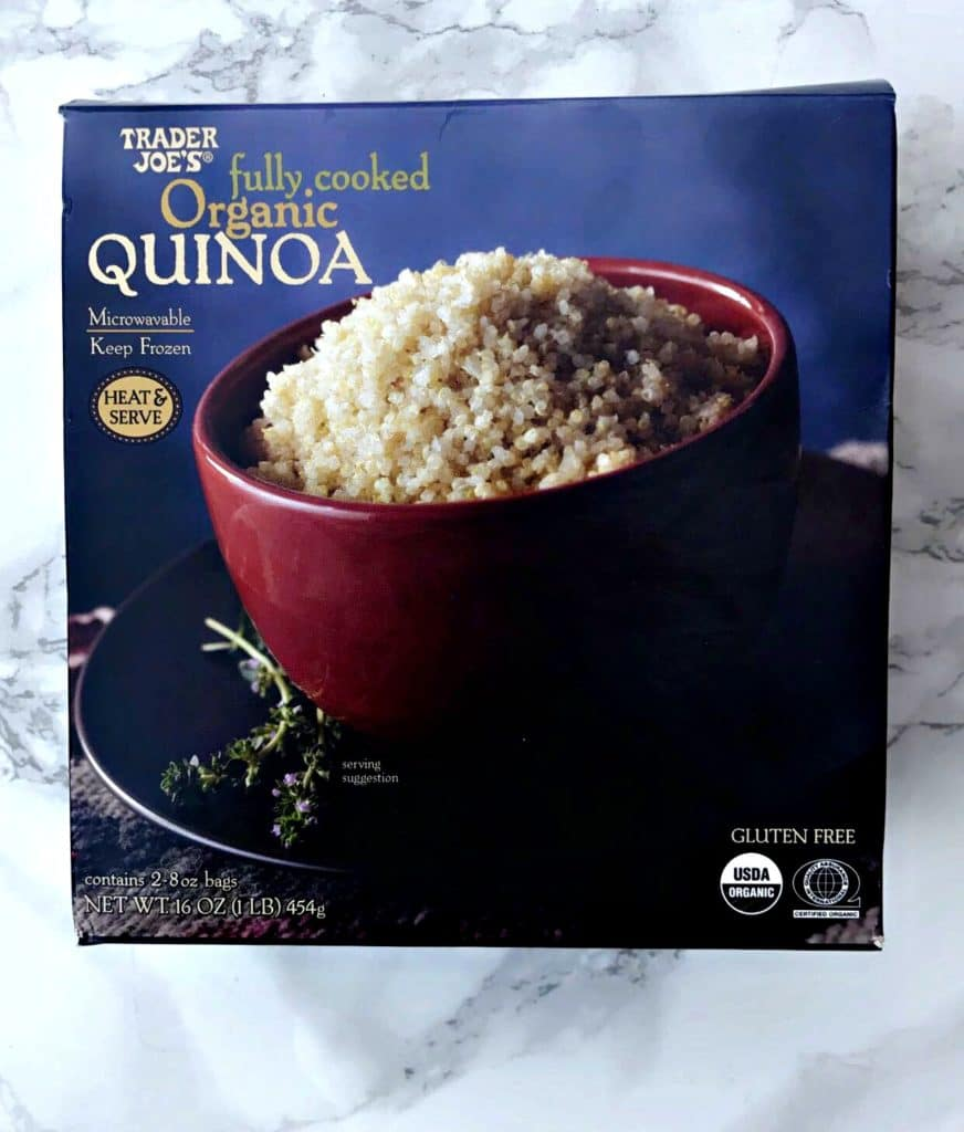 box of cooked Trader Joes quinoa