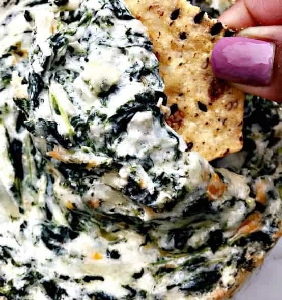 Easy Baked Warm Spinach Dip with Garlic and Parmesan