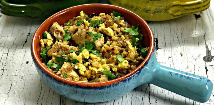 Low-Carb Keto Cauliflower Vegetable Fried Rice with Chicken