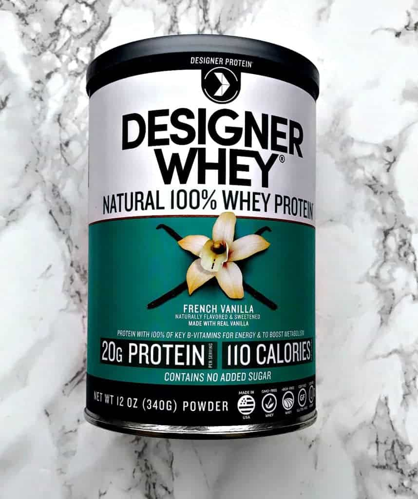 container of french vanilla whey protein