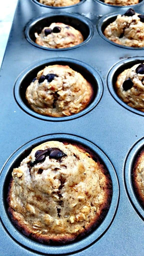 close up of baked almond butter chocolate protein muffins in a muffin tin