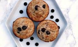Almond Butter Oatmeal Protein Muffins with Dark Chocolate Chips