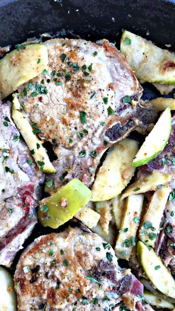 quick and easy pan seared apple pork chops