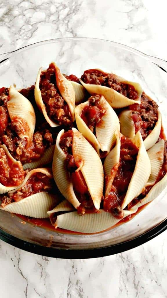 healthy skinny lightened-up cheeseburger stuffed shells