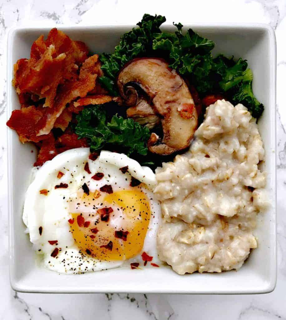 savory oatmeal with bacon, mushroom, and egg