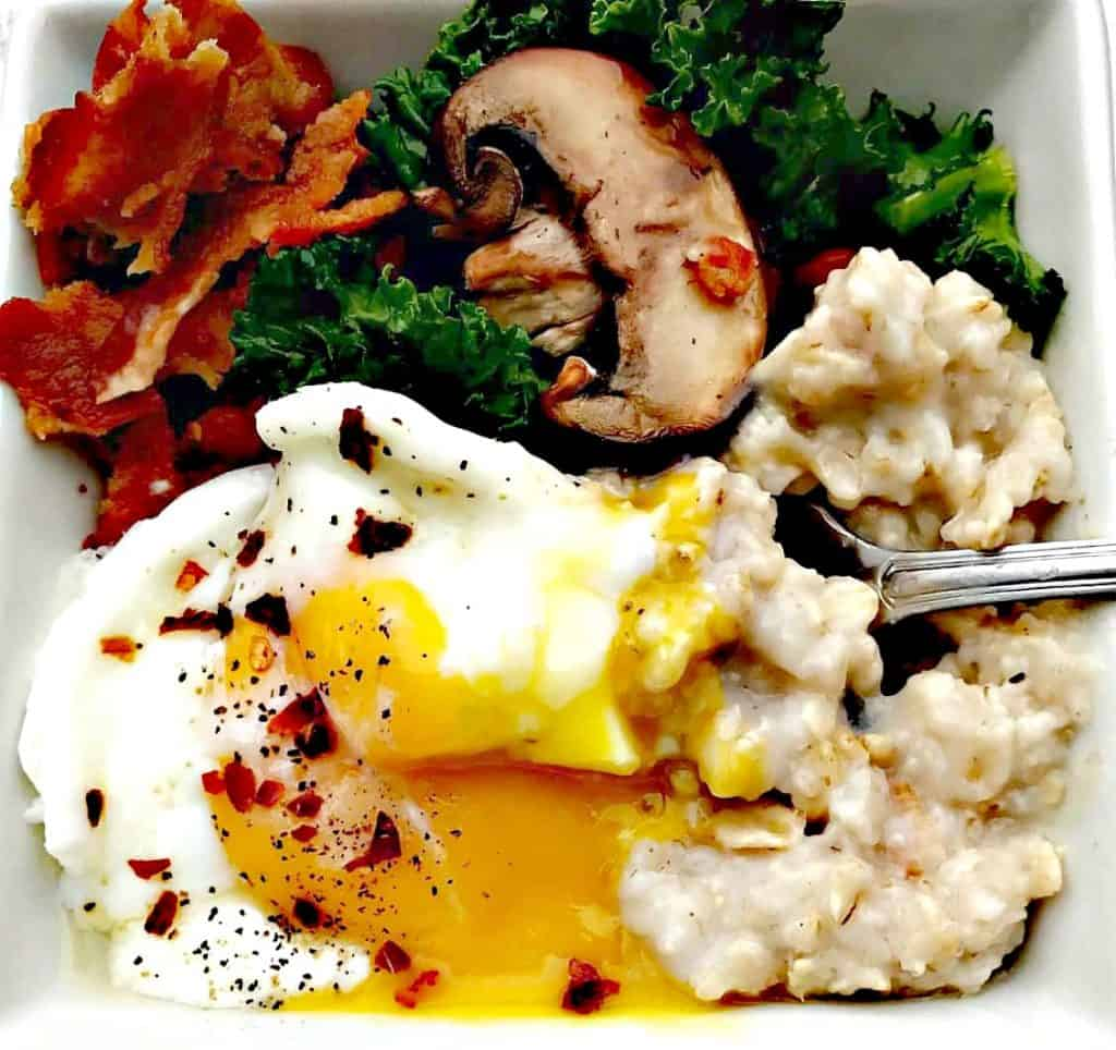 savory oats and bacon breakfast bowl
