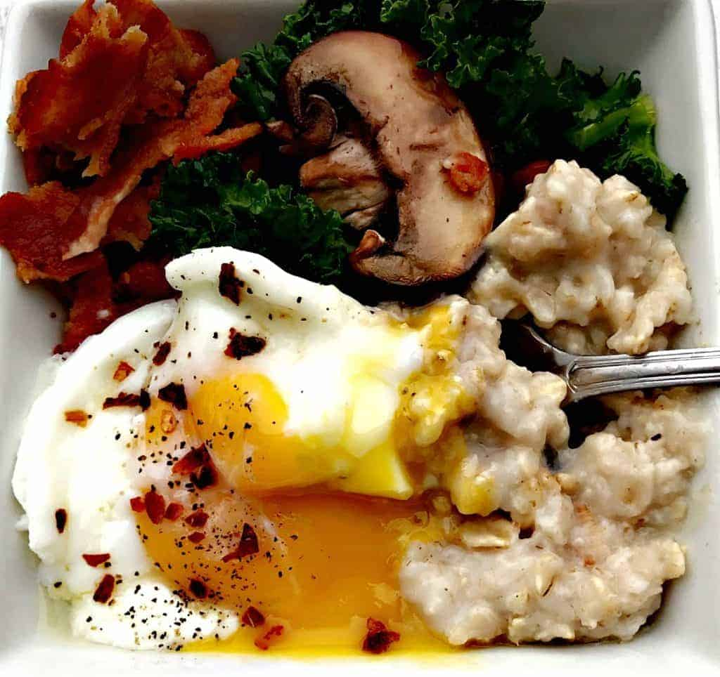 savory oatmeal with bacon, mushroom, and egg