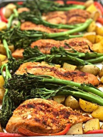 Sheet Pan Teriyaki Salmon with Roasted Dill Potatoes and Broccolini