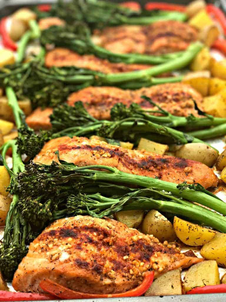 Sheet Pan Teriyaki Salmon with Roasted Dill Potatoes and Broccolini