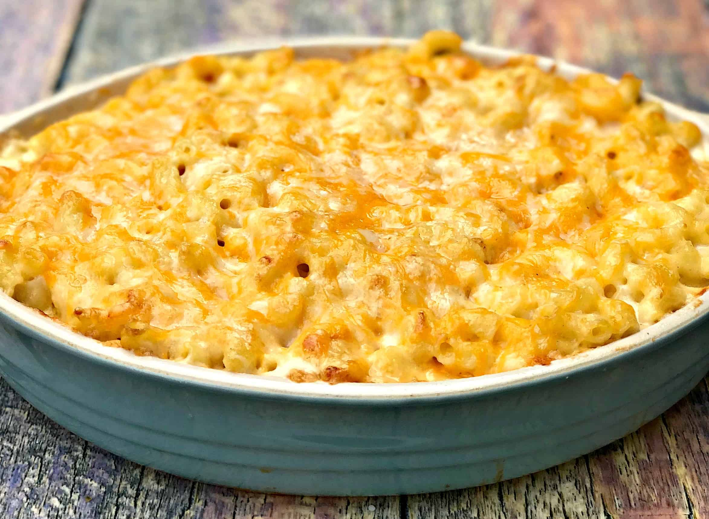 southern style baked macaroni and cheese in a baking dish