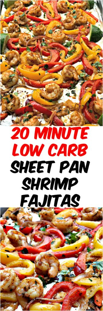 20 minute low carb shrimp fajitas