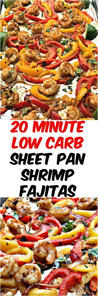 20 minute low carb shrimp fajitas