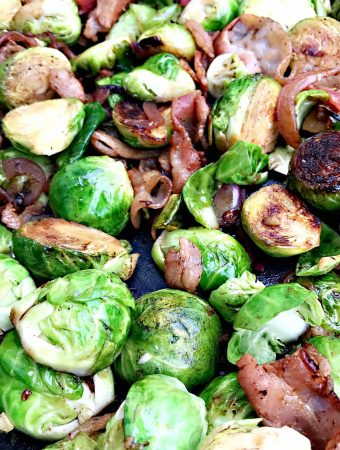 close up of Caramelized Balsamic Bacon Brussels Sprouts