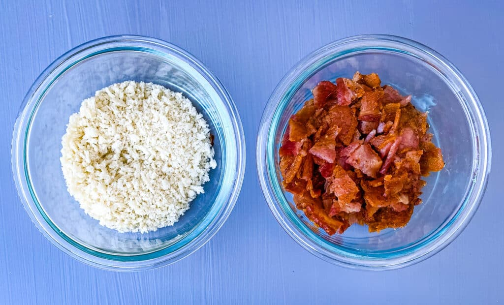 breadcrumbs and chopped cooked bacon in separate glass bowls