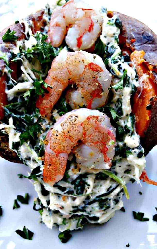 shrimp crab stuffed sweet potatoes with spinach