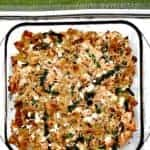 overview of baking dish with salmon with whole wheat pasta and asparagus