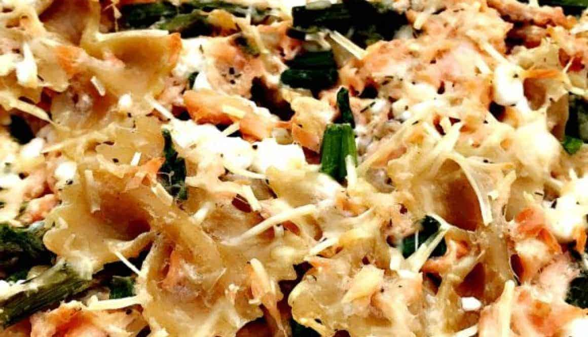 Baked Salmon with Whole Wheat Farfalle and Asparagus
