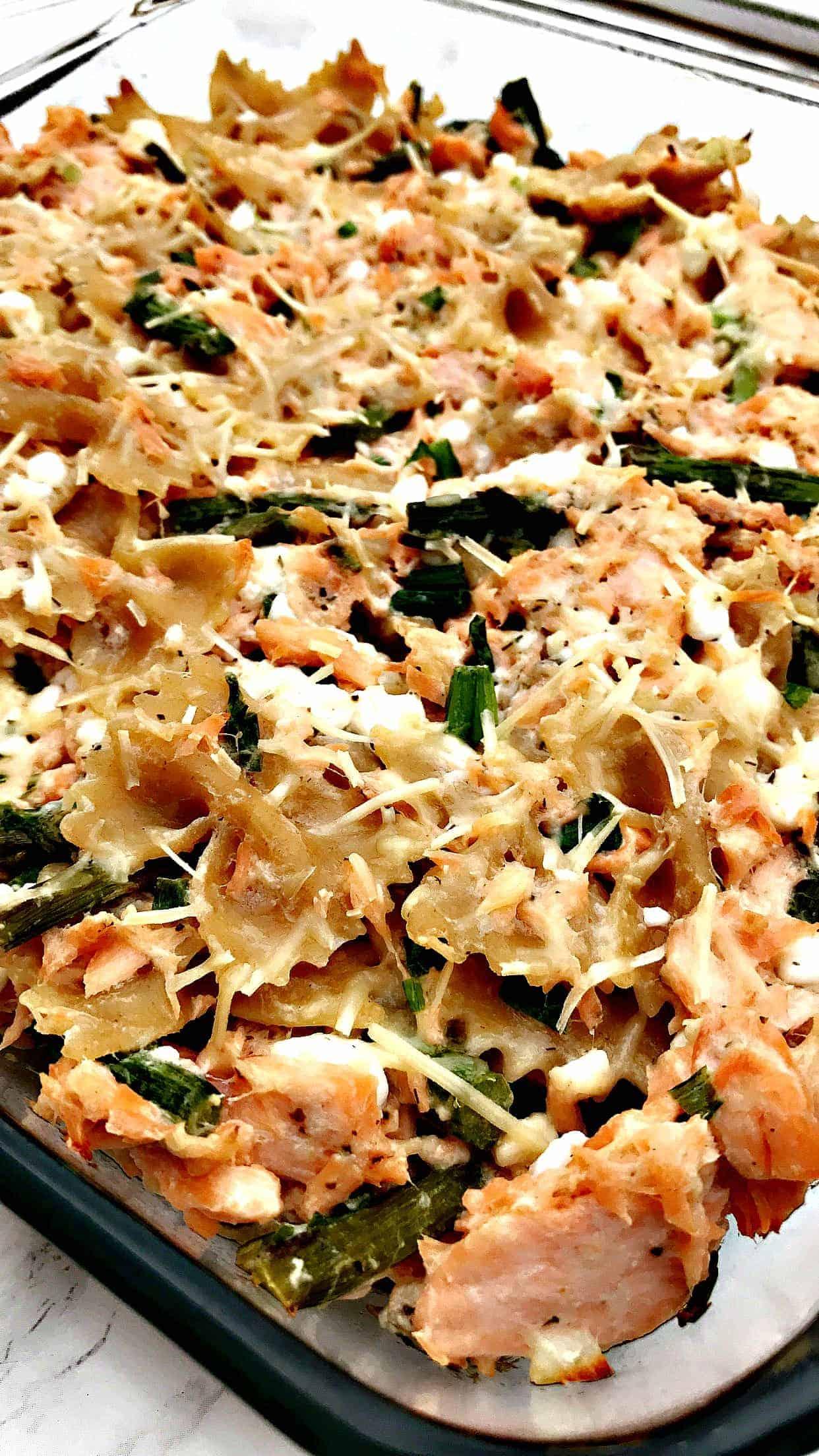 whole wheat salmon pasta in a baking dish