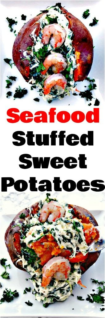 collage photo of seafood stuffed sweet potatoes