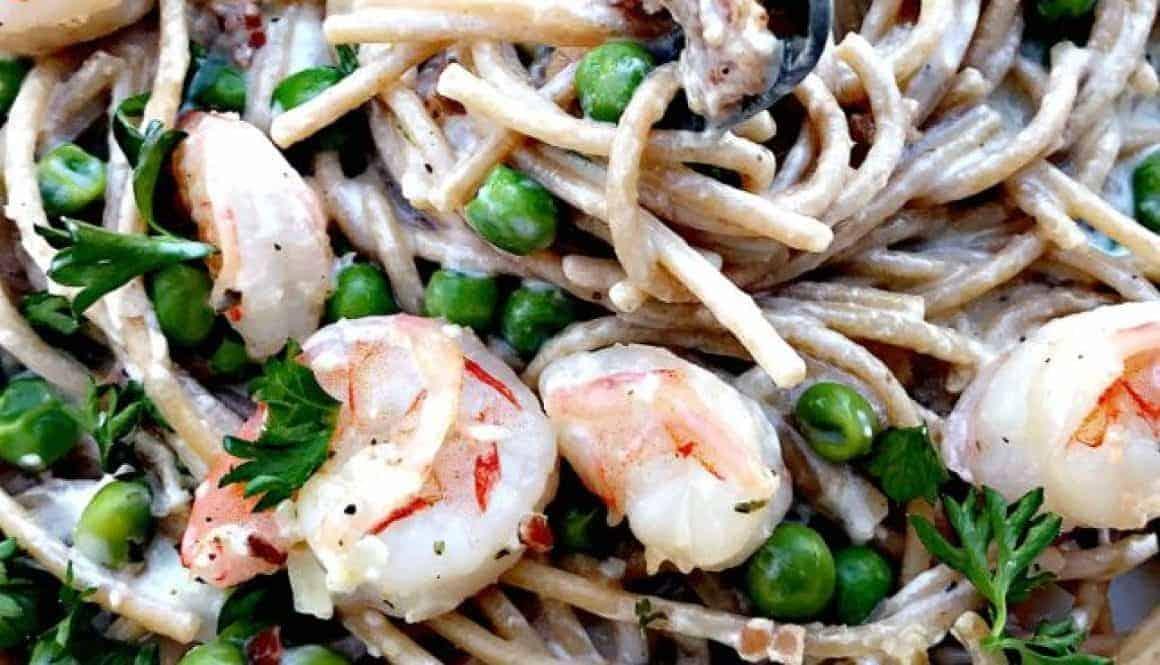Shrimp Carbonara with Whole Wheat Pasta