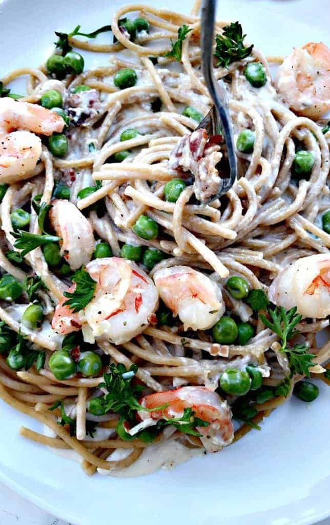 Healthy Shrimp Carbonara Whole Wheat Pasta