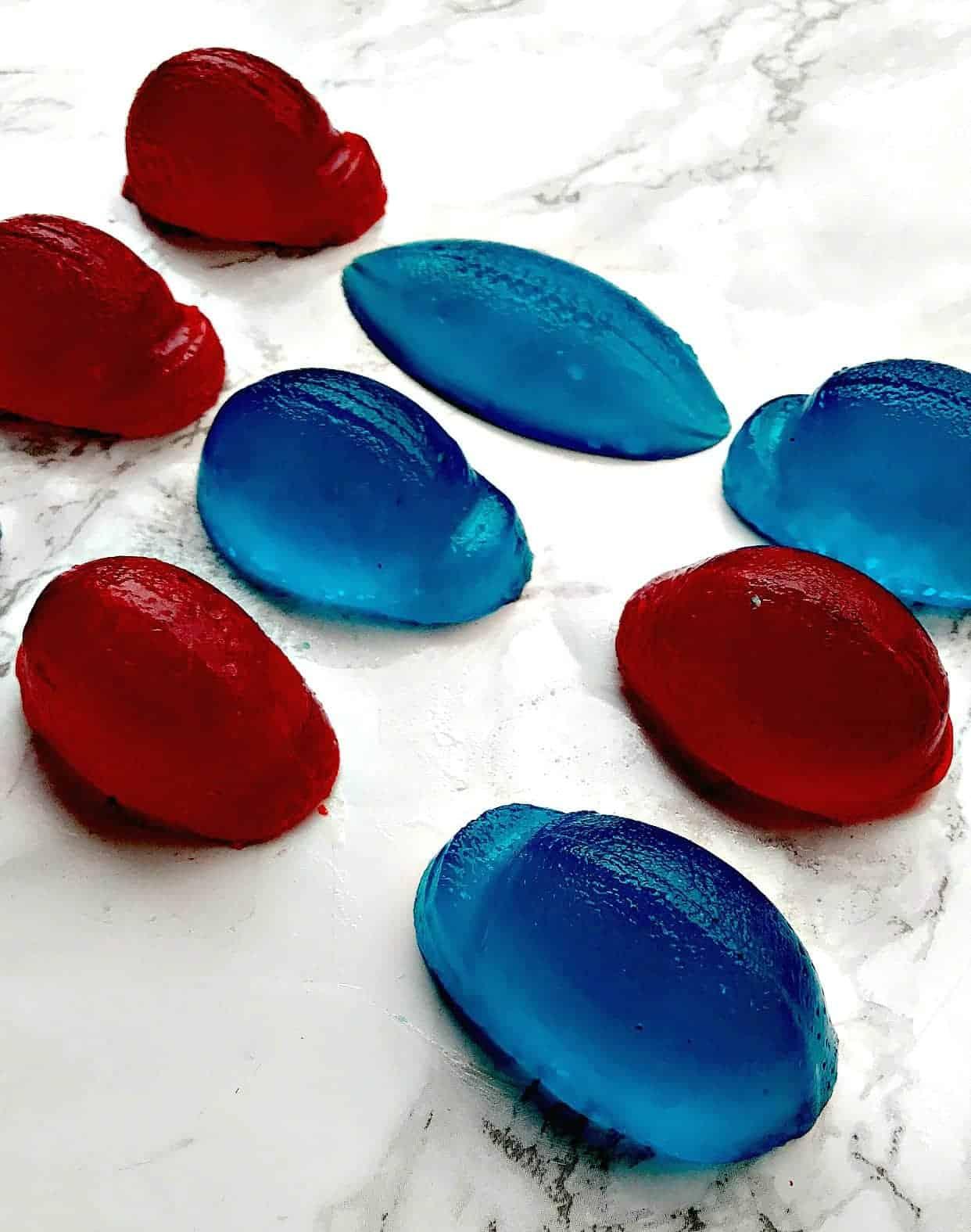 super bowl red and blue jello mold shots (footballs, & helmets)