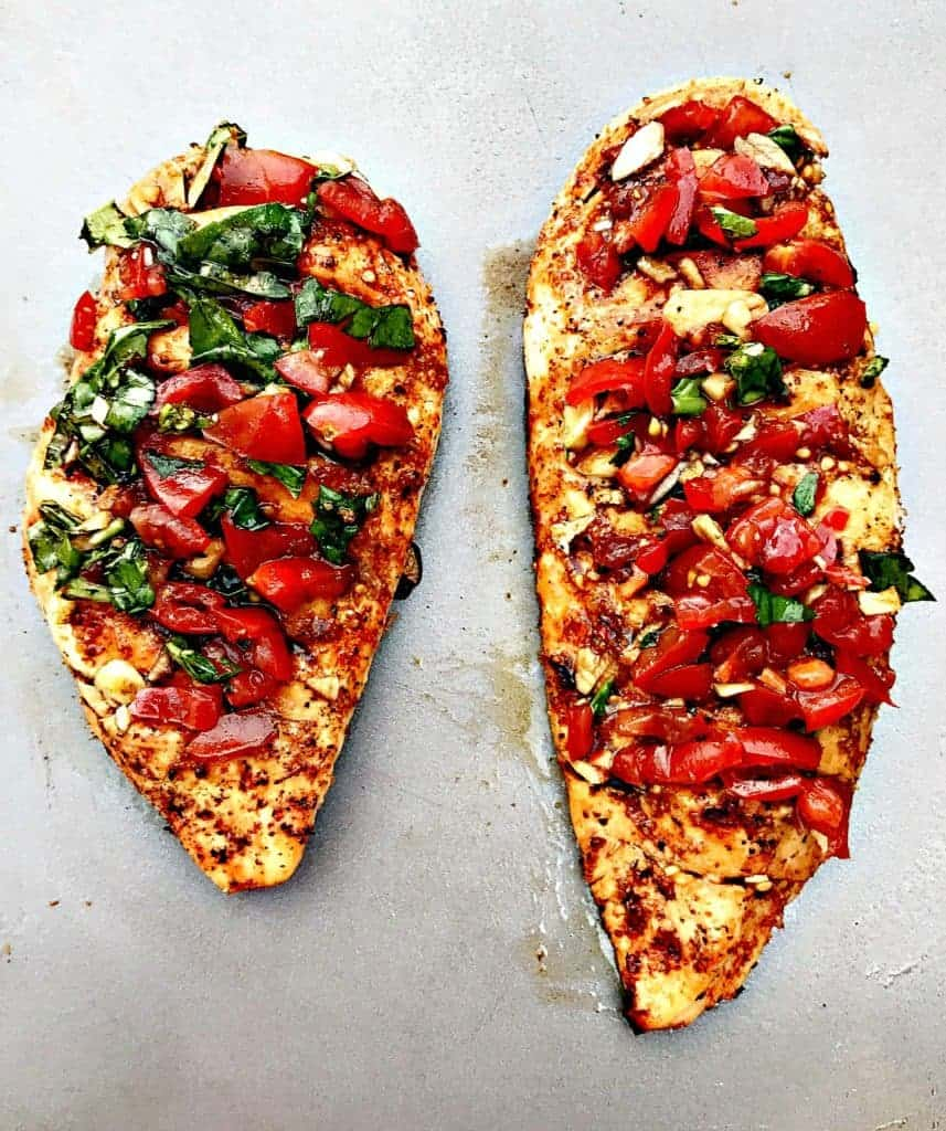 bruschetta stuffed chicken with tomatoes and vegetgables