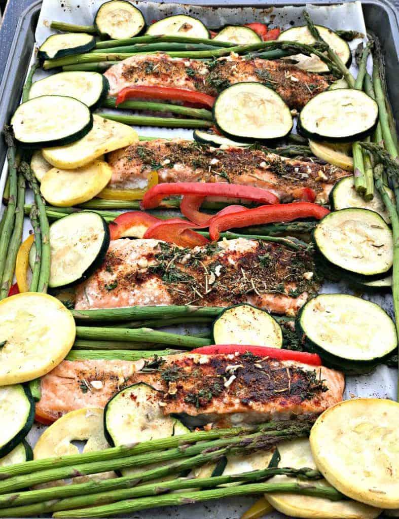 low carb balsamic salmon sheet pan