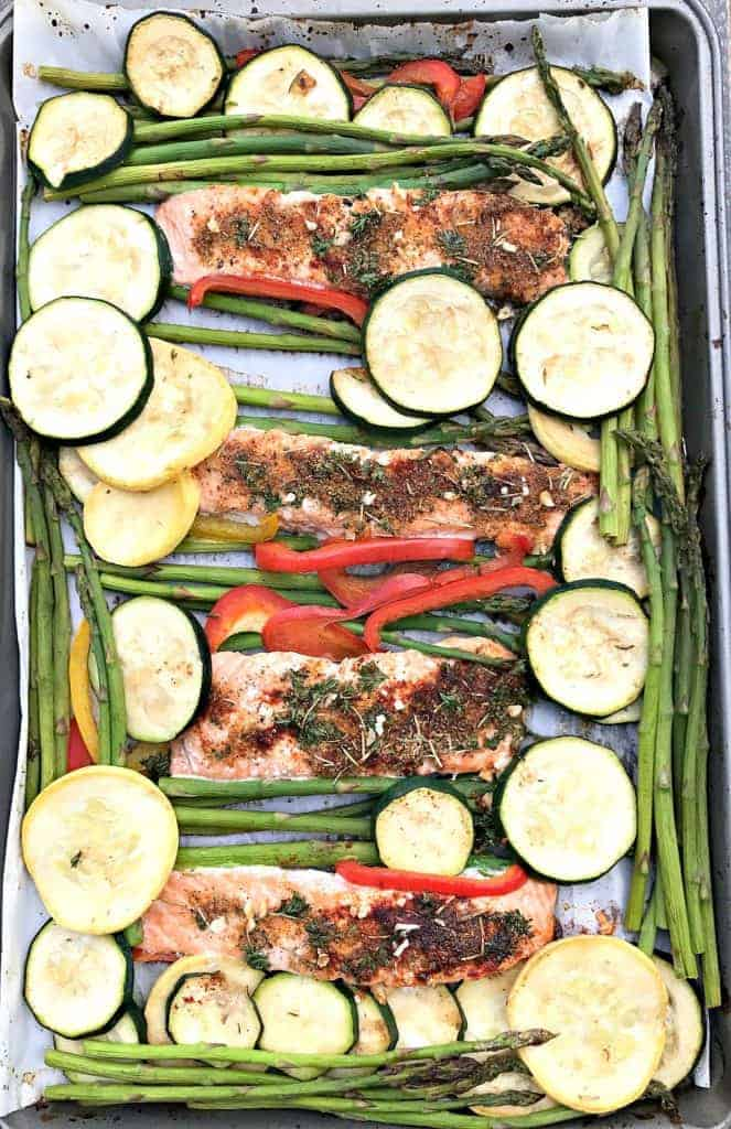 low carb balsamic salmon sheet pan