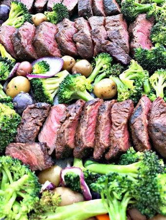 overview of baking pan with steak and veggies