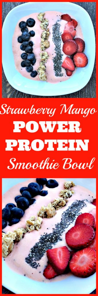 strawberry power protein smoothie bowl